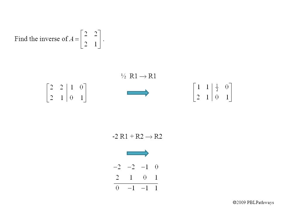  2009 PBLPathways Find the inverse of. ½ R1  R1 -2 R1 + R2  R2