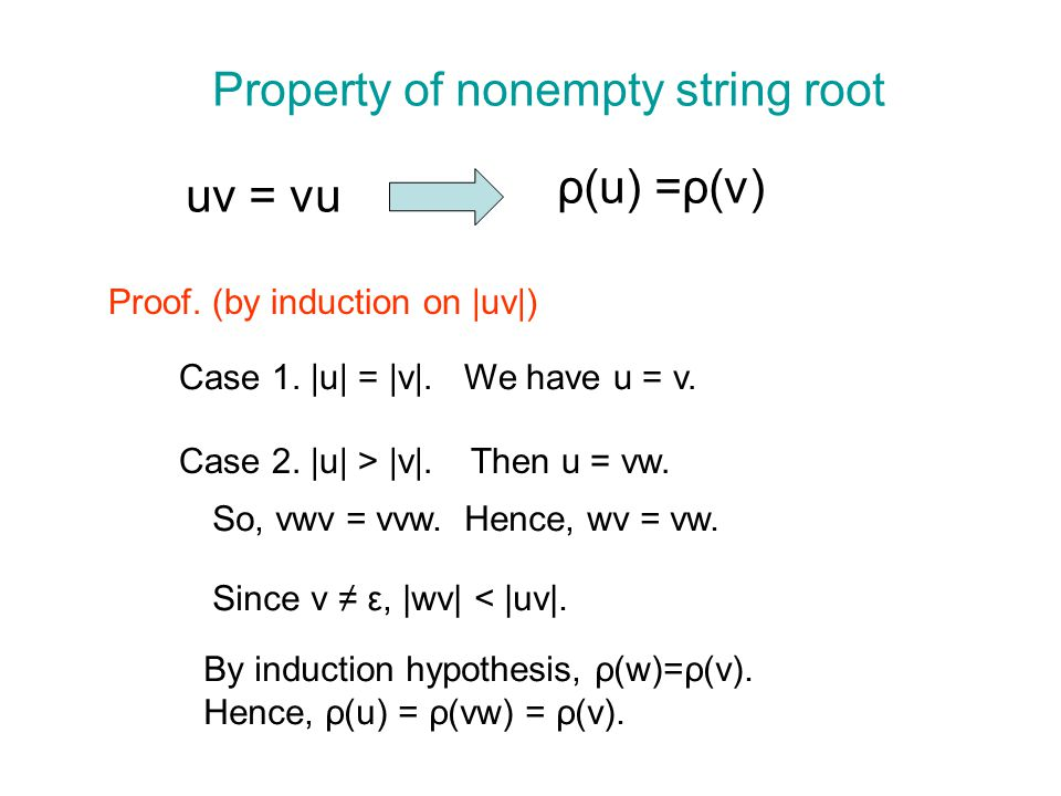 Property of nonempty string root uv = vu ρ(u) =ρ(v) Proof.