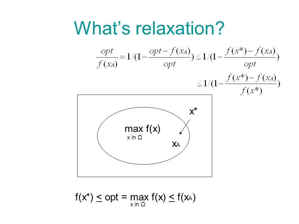 What's relaxation max f(x) x* xAxA f(x*) < opt = max f(x) < f(x A ) x in Ω