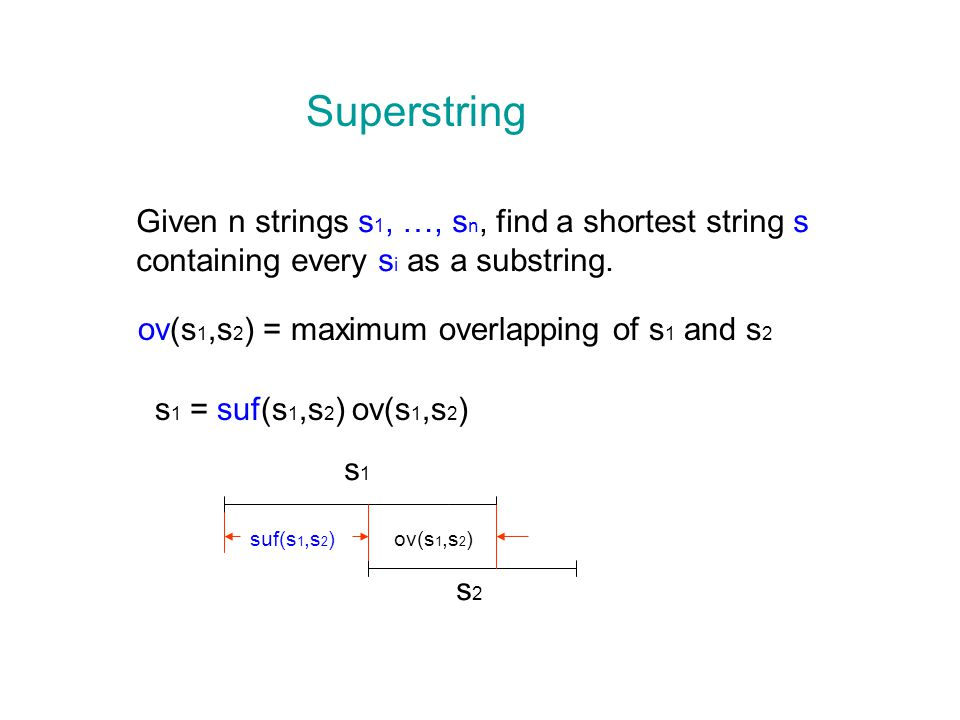 Superstring Given n strings s 1, …, s n, find a shortest string s containing every s i as a substring.