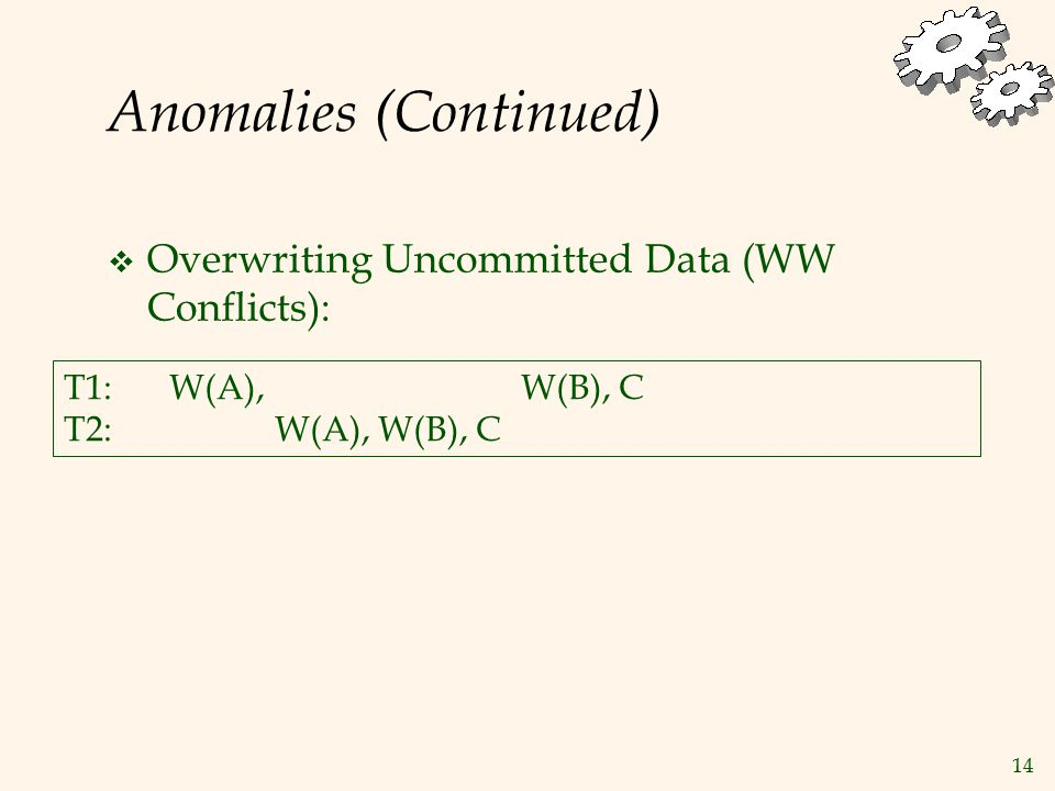14 Anomalies (Continued)  Overwriting Uncommitted Data (WW Conflicts): T1:W(A), W(B), C T2:W(A), W(B), C