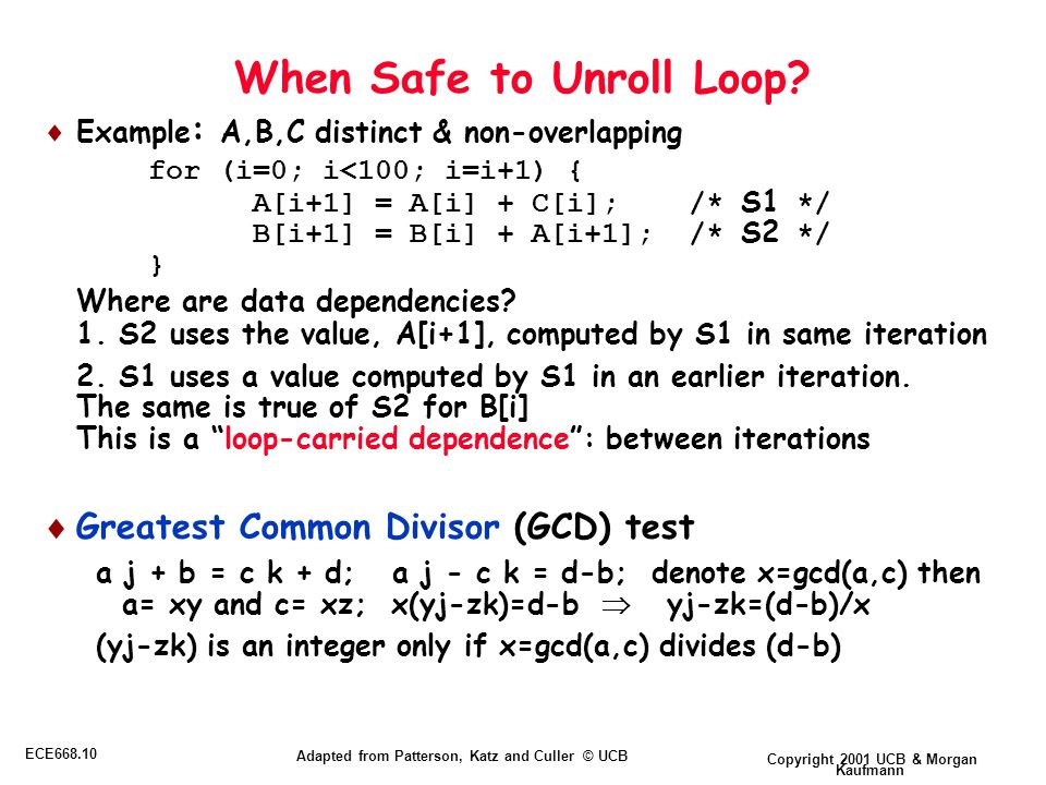 Copyright 2001 UCB & Morgan Kaufmann ECE668.10 Adapted from Patterson, Katz and Culler © UCB When Safe to Unroll Loop.