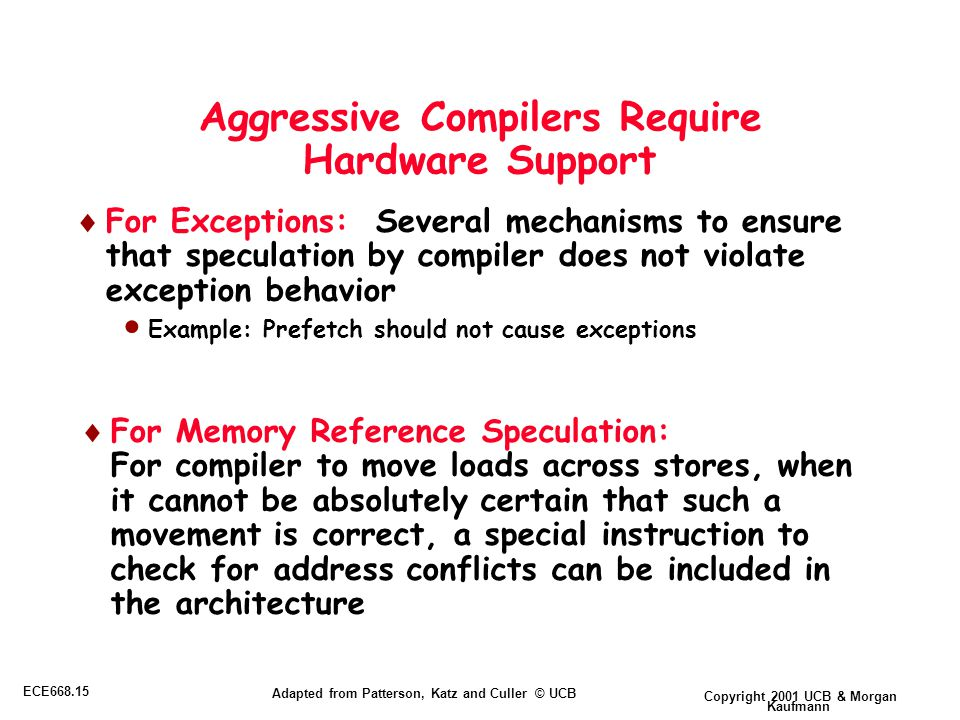 Copyright 2001 UCB & Morgan Kaufmann ECE668.15 Adapted from Patterson, Katz and Culler © UCB Aggressive Compilers Require Hardware Support  For Exceptions: Several mechanisms to ensure that speculation by compiler does not violate exception behavior  Example: Prefetch should not cause exceptions  For Memory Reference Speculation: For compiler to move loads across stores, when it cannot be absolutely certain that such a movement is correct, a special instruction to check for address conflicts can be included in the architecture