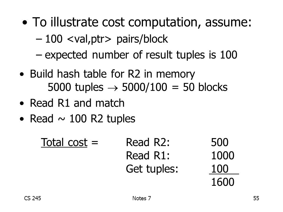 CS 245Notes 755 To illustrate cost computation, assume: –100 pairs/block –expected number of result tuples is 100 Build hash table for R2 in memory 5000 tuples  5000/100 = 50 blocks Read R1 and match Read ~ 100 R2 tuples Total cost = Read R2:500 Read R1:1000 Get tuples:100 1600