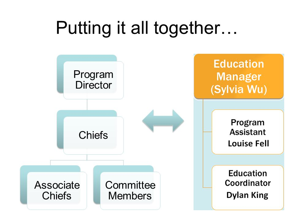 Program Director Chiefs Associate Chiefs Committee Members Putting it all together…