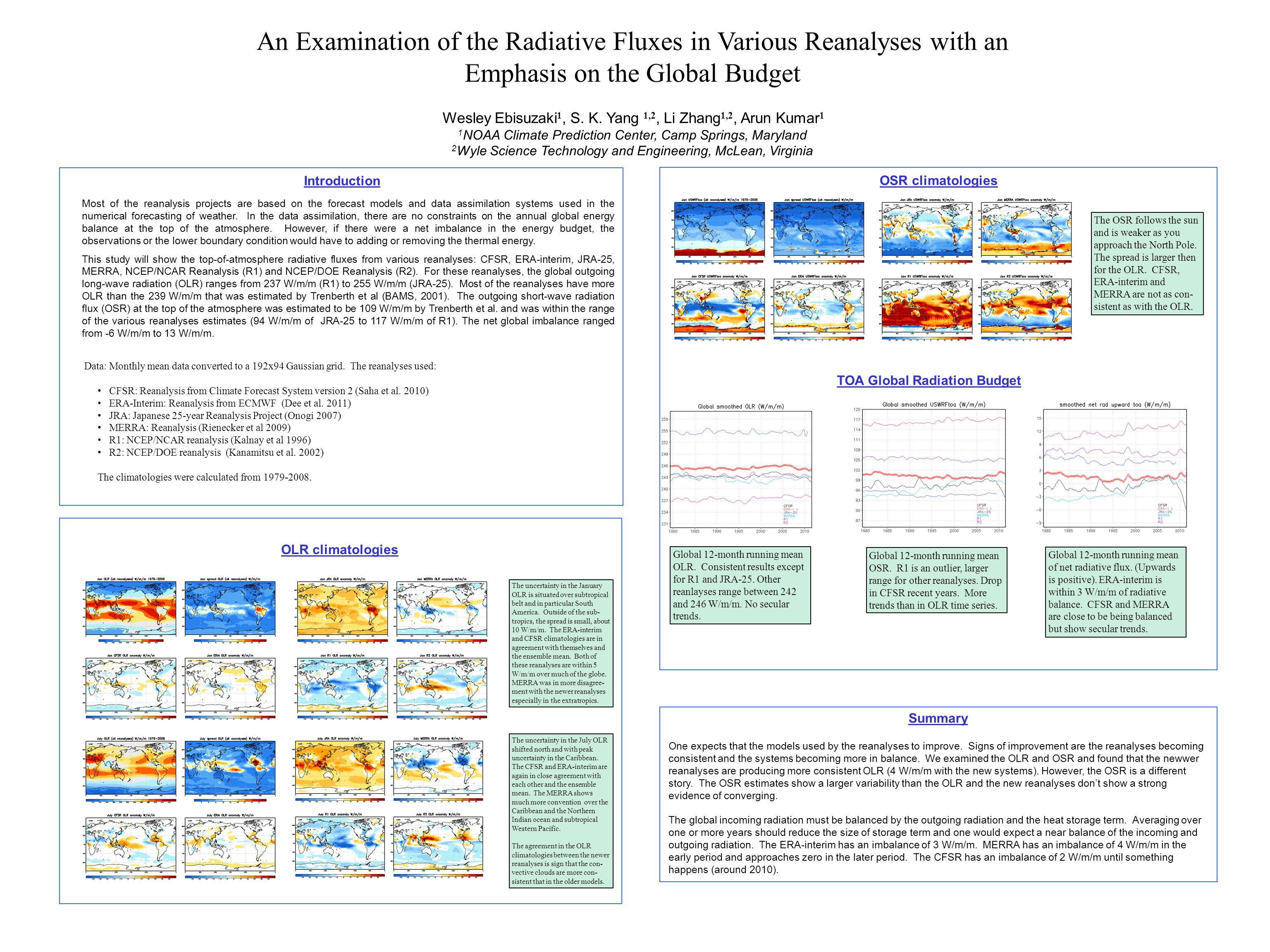 An Examination of the Radiative Fluxes in Various Reanalyses with an Emphasis on the Global Budget Wesley Ebisuzaki 1, S. K. Yang 1,2, Li Zhang 1,2, A
