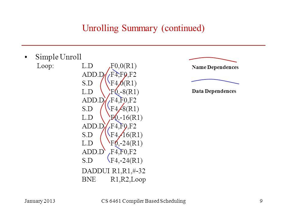 January 2013CS 6461 Compiler Based Scheduling10 Unrolling and Renaming Gives MIPS code Loop:L.DF0,0(R1) ADD.DF4,F0,F2 we have a stall coming S.DF4,0(R1) L.DF6,-8(R1) ADD.DF8,F6,F2 S.DF8,-8(R1) L.DF10,-16(R1) ADD.DF12,F10,F2 S.DF12,-16(R1) L.DF14,-24(R1) ADD.DF16,F14,F2 S.DF16,-24(R1) DADDUIR1,R1,#-32 BNER1,R2,Loop