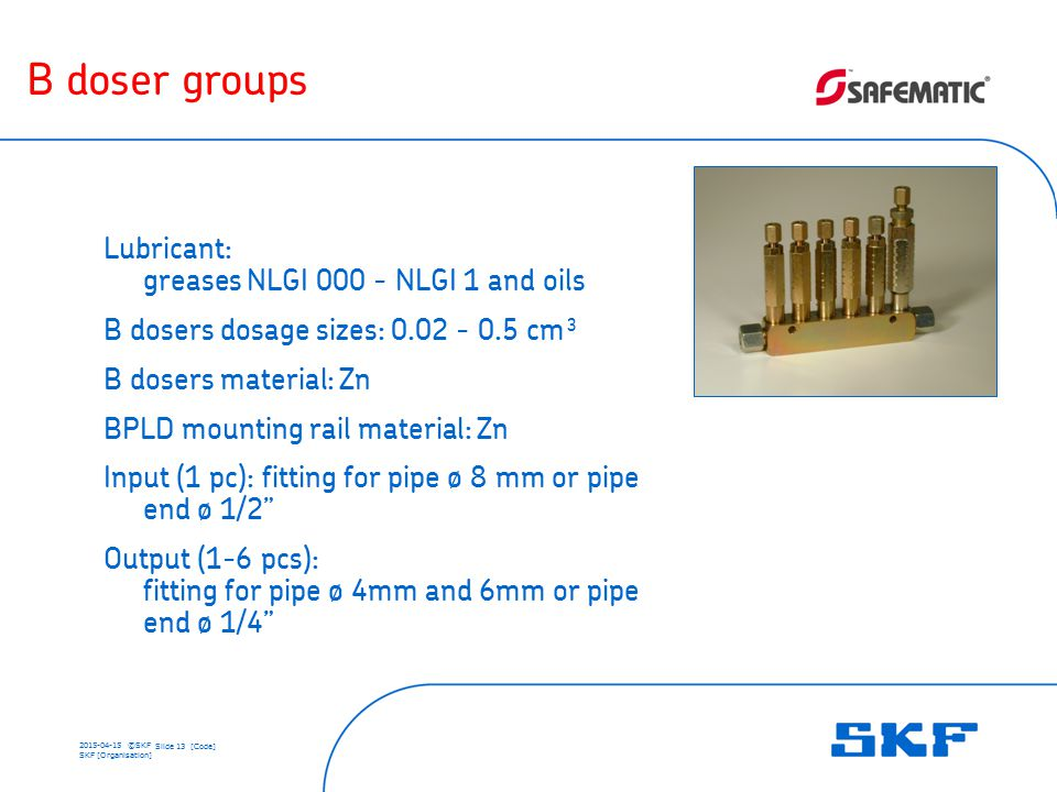 2015-04-15 ©SKF Slide 13 [Code] SKF [Organisation] B doser groups Lubricant: greases NLGI 000 - NLGI 1 and oils B dosers dosage sizes: 0.02 - 0.5 cm³