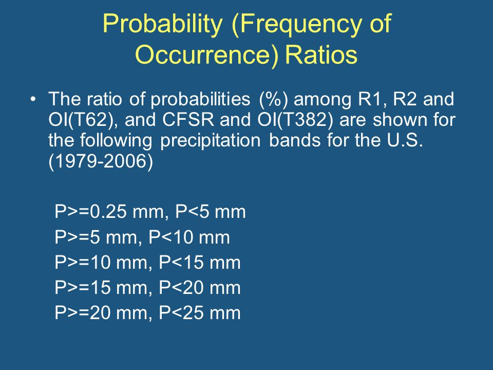 Probability (Frequency of Occurrence) Ratios The ratio of probabilities (%) among R1, R2 and OI(T62), and CFSR and OI(T382) are shown for the following precipitation bands for the U.S.