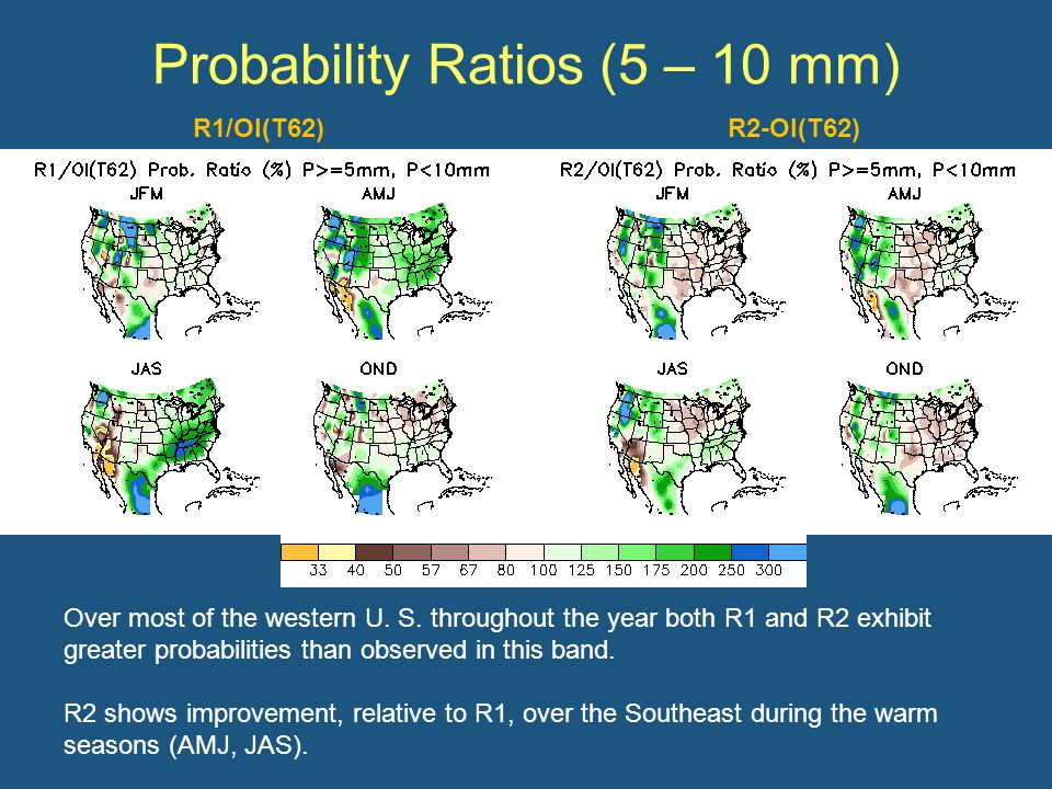 Probability Ratios (5 – 10 mm) Over most of the western U.