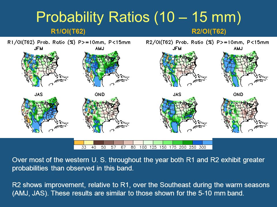 Probability Ratios (10 – 15 mm) Over most of the western U.