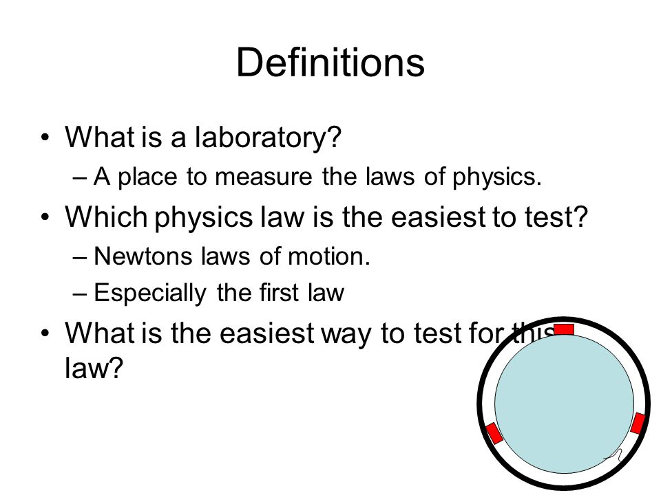Definitions What is a laboratory? –A place to measure the laws of physics. Which physics law is the easiest to test? –Newtons laws of motion. –Especia