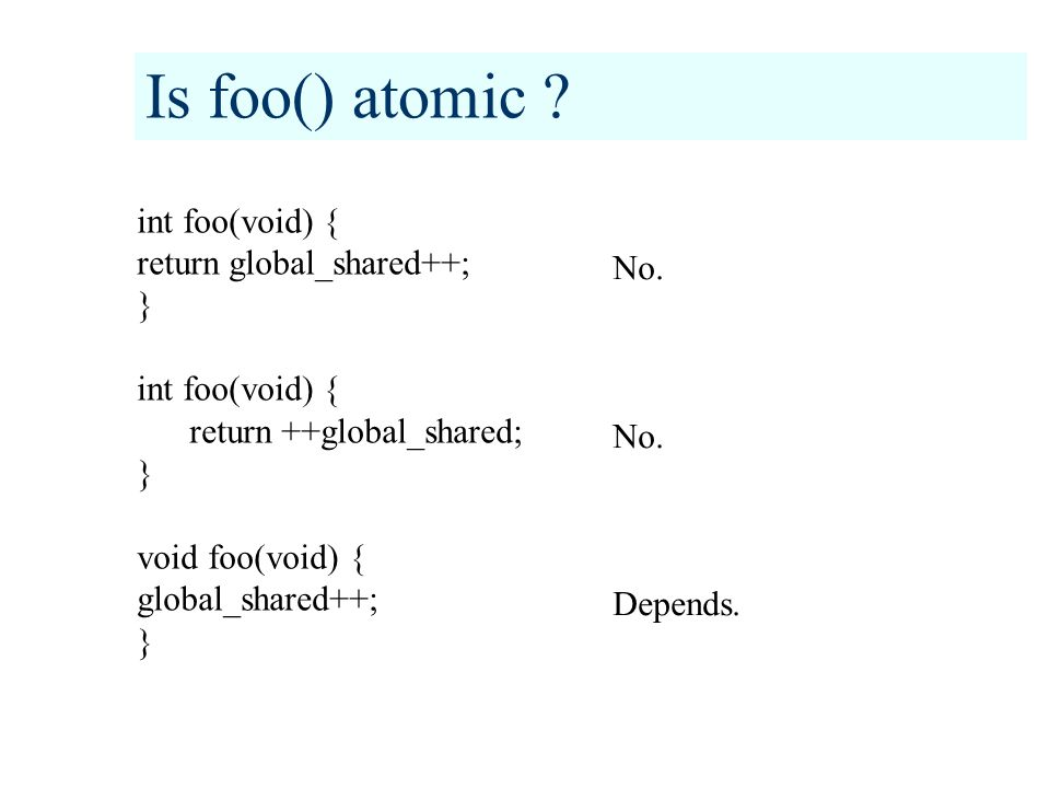 Mailbox calls – atomic or not .Function: Void mbox_init(void); Atomic or not: No.