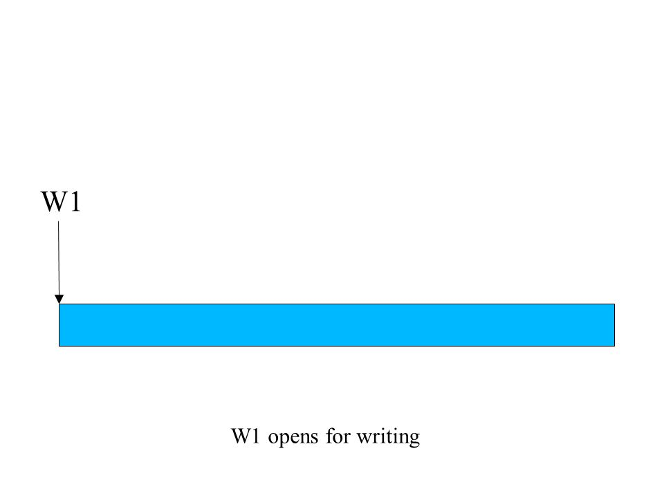 W1 opens for writing W1