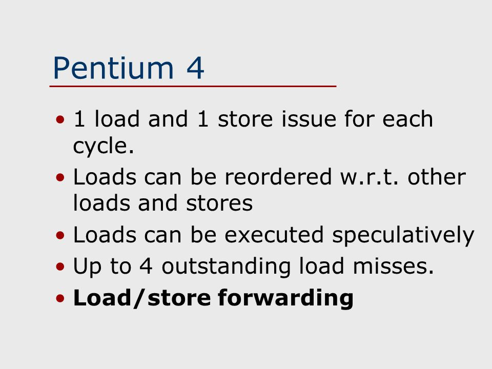 Pentium 4 1 load and 1 store issue for each cycle.