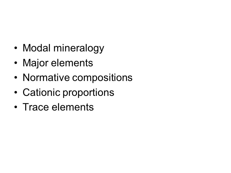 Modal mineralogy Major elements Normative compositions Cationic proportions Trace elements