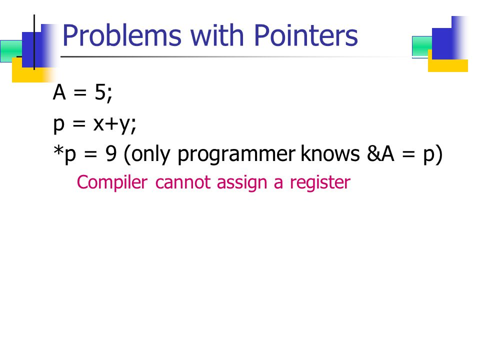 Problems with Pointers A = 5; p = x+y; *p = 9 (only programmer knows &A = p) Compiler cannot assign a register