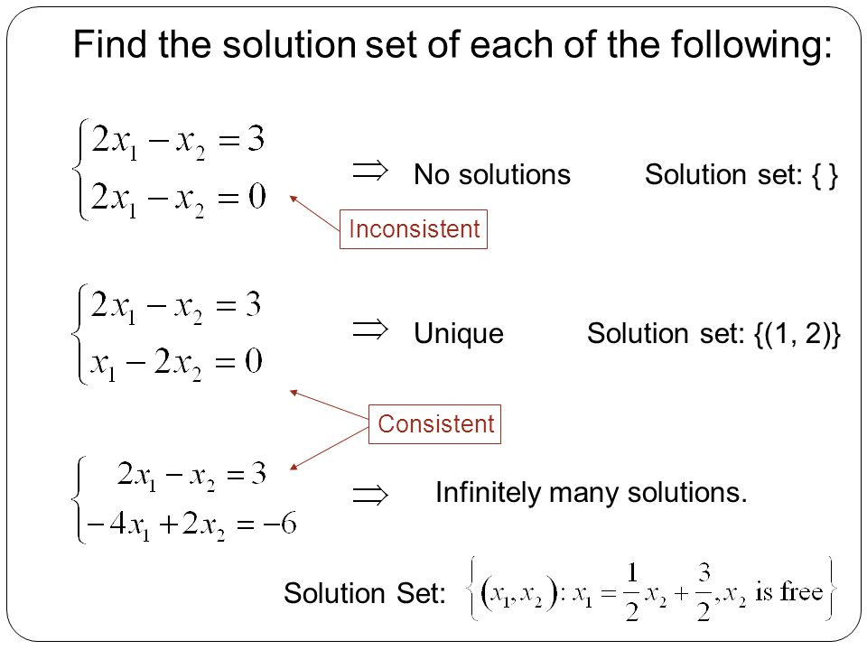 Find the solution set of each of the following: No solutions Solution set: {(1, 2)} Infinitely many solutions. Consistent Inconsistent Unique Solution