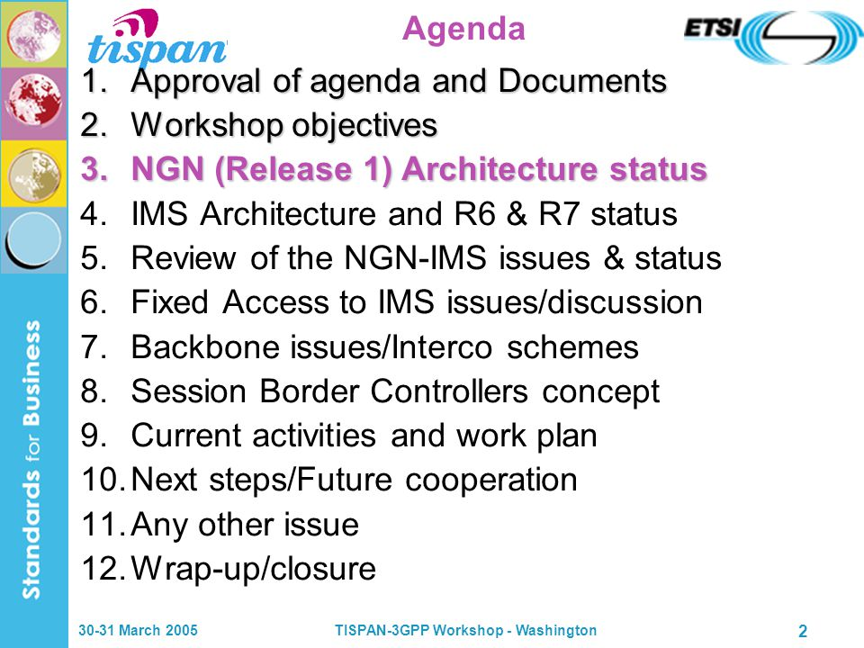 30-31 March 2005TISPAN-3GPP Workshop - Washington 2 Agenda 1.Approval of agenda and Documents 2.Workshop objectives 3.NGN (Release 1) Architecture status 4.IMS Architecture and R6 & R7 status 5.Review of the NGN-IMS issues & status 6.Fixed Access to IMS issues/discussion 7.Backbone issues/Interco schemes 8.Session Border Controllers concept 9.Current activities and work plan 10.Next steps/Future cooperation 11.Any other issue 12.Wrap-up/closure