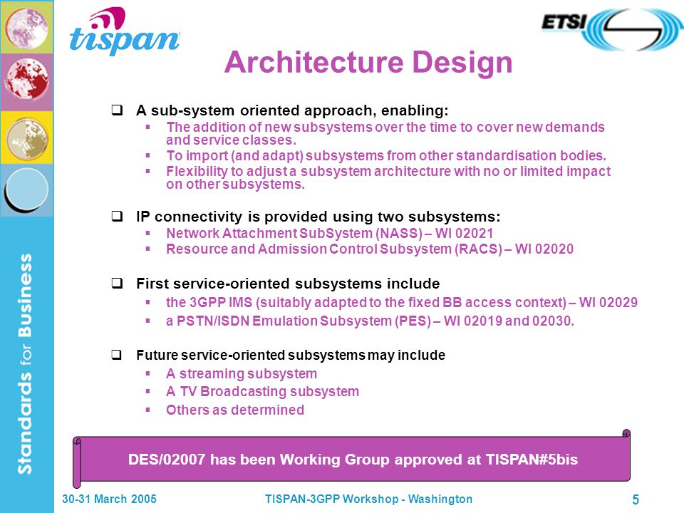 30-31 March 2005TISPAN-3GPP Workshop - Washington 5 Architecture Design  A sub-system oriented approach, enabling:  The addition of new subsystems o