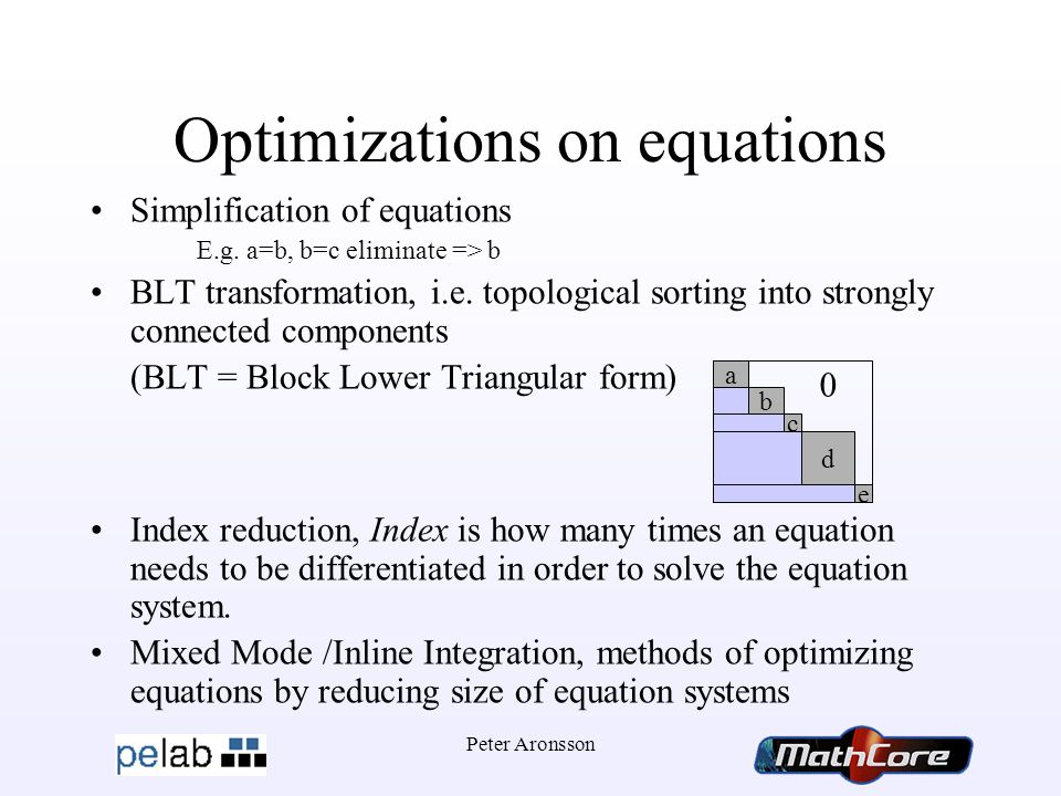 Peter Aronsson Optimizations on equations Simplification of equations E.g.