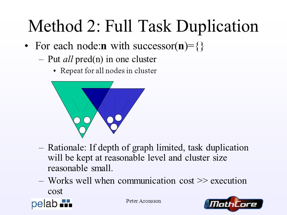 Peter Aronsson Method 2: Full Task Duplication For each node:n with successor(n)={} –Put all pred(n) in one cluster Repeat for all nodes in cluster –Rationale: If depth of graph limited, task duplication will be kept at reasonable level and cluster size reasonable small.