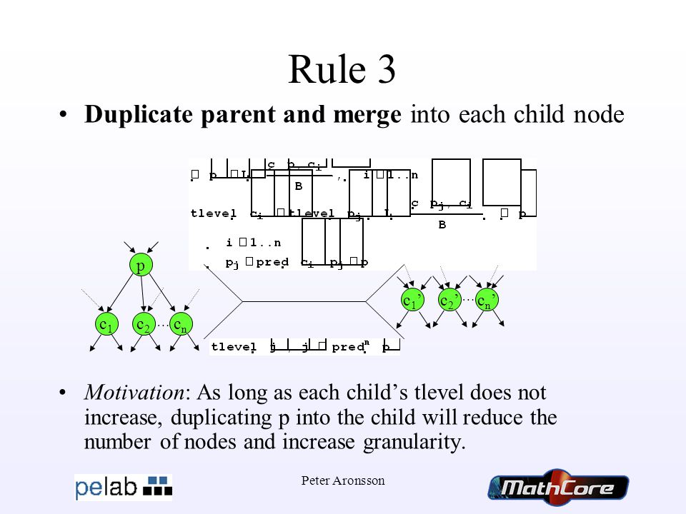 Peter Aronsson Rule 3 Duplicate parent and merge into each child node Motivation: As long as each child's tlevel does not increase, duplicating p into the child will reduce the number of nodes and increase granularity.