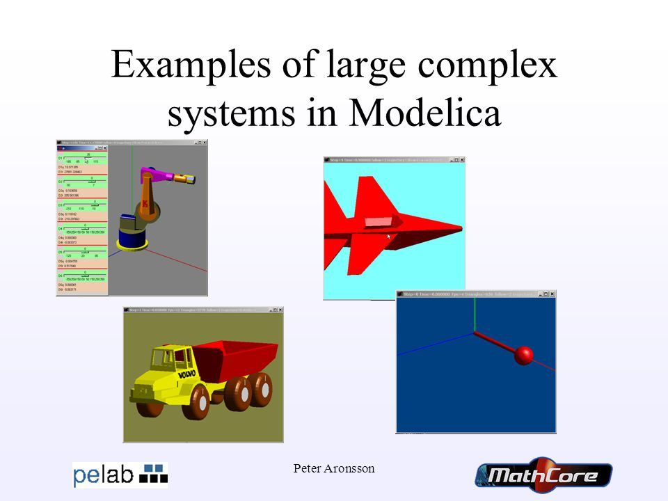 Peter Aronsson Examples of large complex systems in Modelica