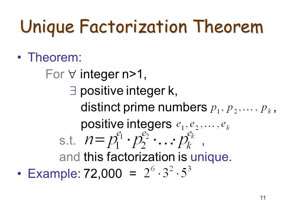 11 Unique Factorization Theorem Theorem: For  integer n>1,  positive integer k, distinct prime numbers, positive integers s.t., and this factorization is unique.