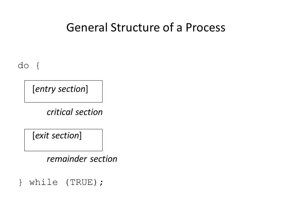 General Structure of a Process do { [entry section] critical section [exit section] remainder section } while (TRUE);