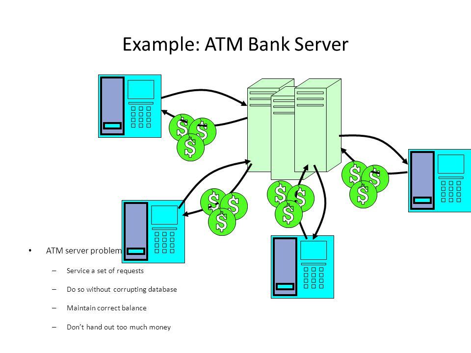 Example: ATM Bank Server ATM server problem: – Service a set of requests – Do so without corrupting database – Maintain correct balance – Don't hand out too much money