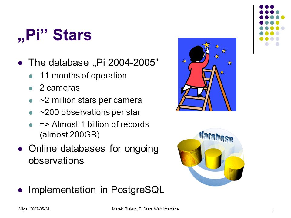 "Wilga, 2007-05-24Marek Biskup, Pi Stars Web Interface 3 ""Pi"" Stars The database ""Pi 2004-2005"" 11 months of operation 2 cameras ~2 million stars per c"