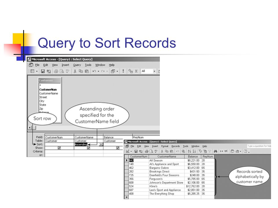 Query to Sort Records