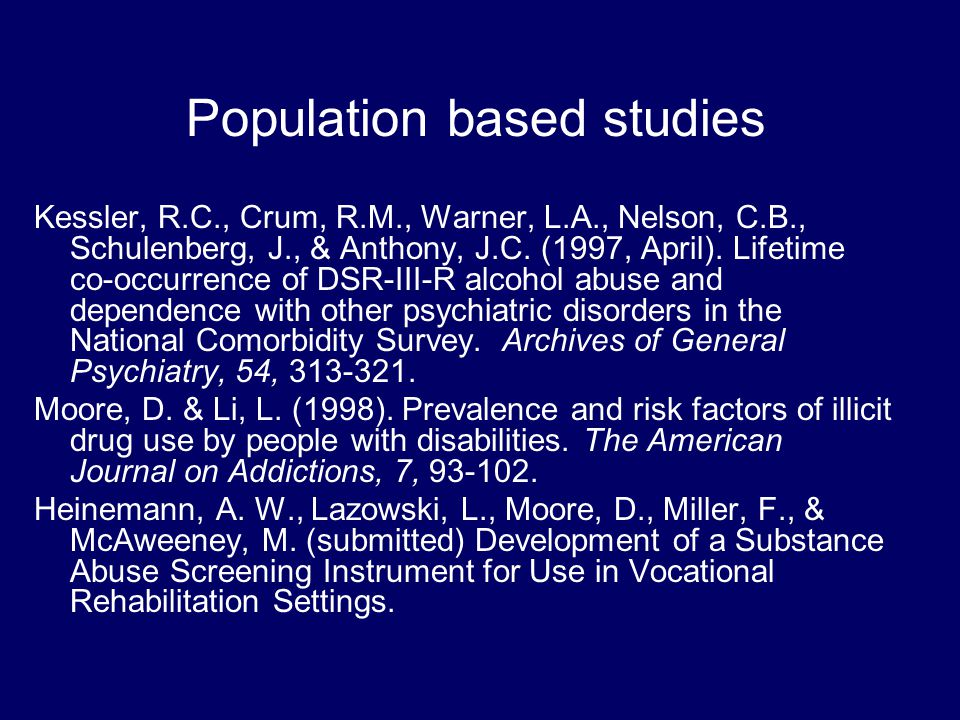 Population based studies Buss, A., & Cramer, C. (1989).