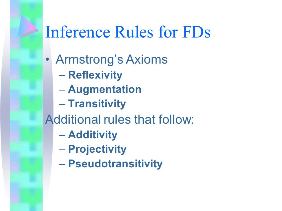 Inference Rules for FDs Armstrong's Axioms –Reflexivity –Augmentation –Transitivity Additional rules that follow: –Additivity –Projectivity –Pseudotransitivity