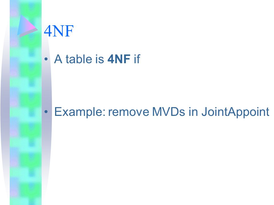 4NF A table is 4NF if Example: remove MVDs in JointAppoint