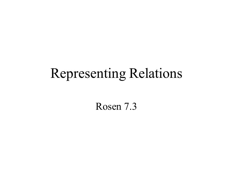 Representing Relations Rosen 7.3