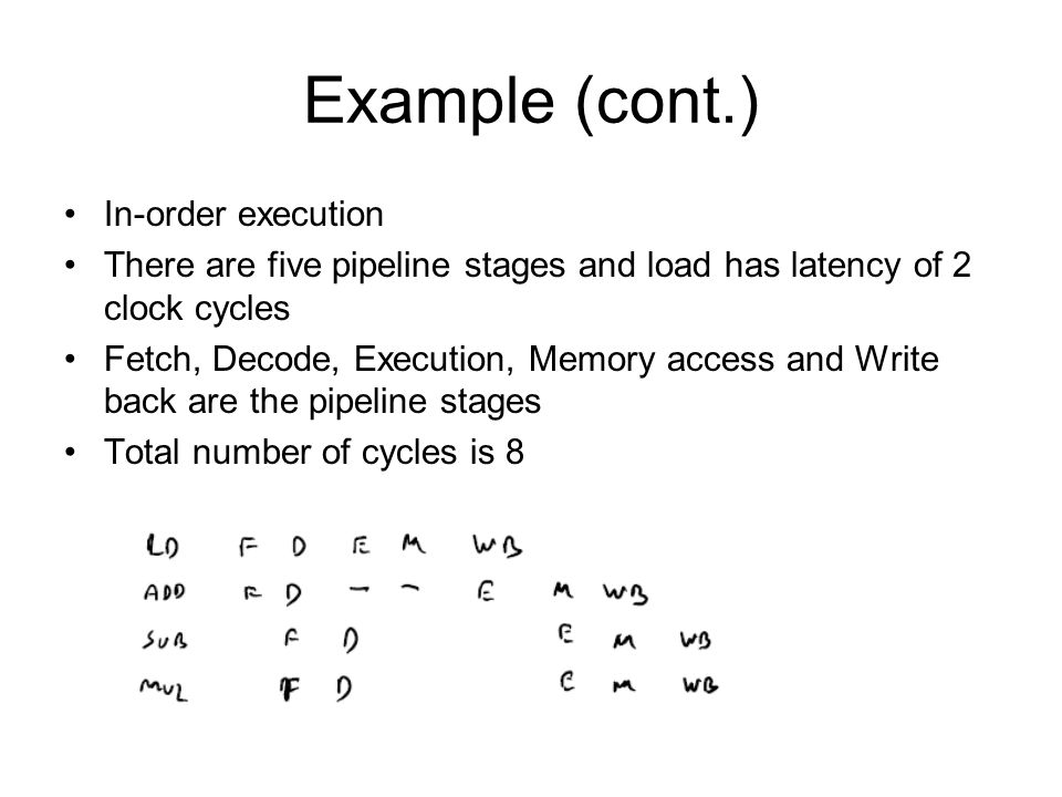 Example (cont.) In-order execution There are five pipeline stages and load has latency of 2 clock cycles Fetch, Decode, Execution, Memory access and W