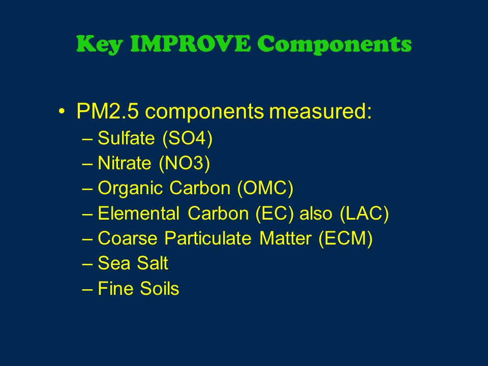 Key IMPROVE Components PM2.5 components measured: –Sulfate (SO4) –Nitrate (NO3) –Organic Carbon (OMC) –Elemental Carbon (EC) also (LAC) –Coarse Particulate Matter (ECM) –Sea Salt –Fine Soils