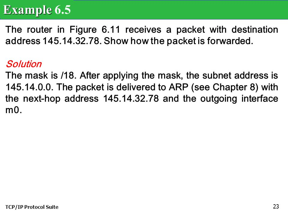 TCP/IP Protocol Suite 24 A host in network 145.14.0.0 in Figure 6.11 has a packet to send to the host with address 7.22.67.91.