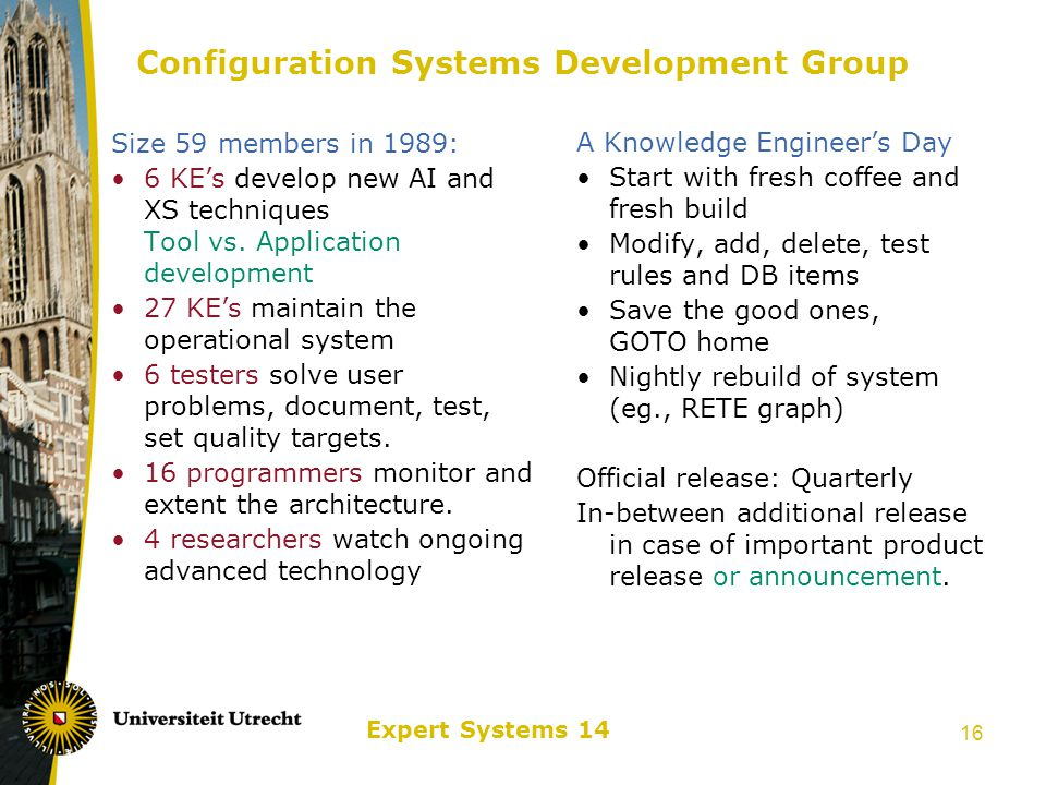 Expert Systems 14 17 Success Factors Real and serious business problem Connection between technologists and supported business (Why do a Minor with your CS Major programme…) DEC was open to new techniques and the way it would change their business (cp.