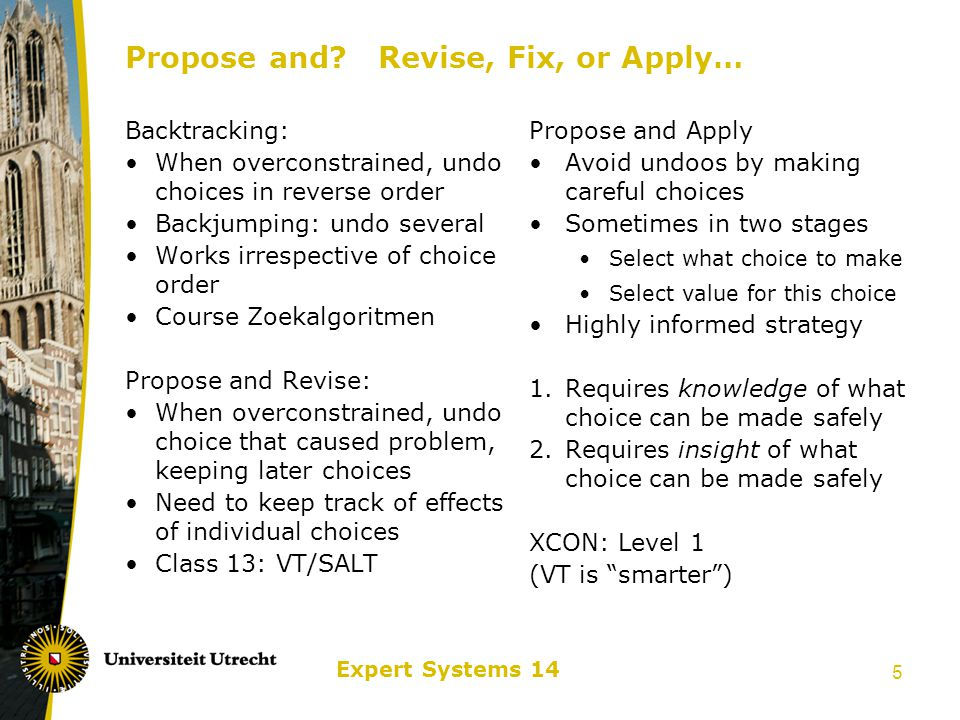 Expert Systems 14 6 XCON: Expert Configurer Stages of Expert System building Identification: Problems, data, goals, company, people… Conceptualization: Characterize different kinds of concepts and relations Formalization: Express character of search Implementation: Build the system in executable form Testing and Evaluation: Does it do what we wanted.