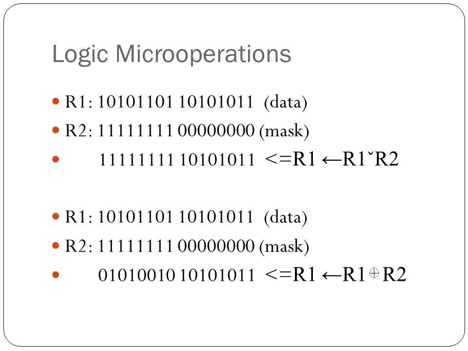 Logic Microoperations R1: 10101101 10101011 (data) R2: 11111111 00000000 (mask) 11111111 10101011 <= R1 ←R1ˇR2 R1: 10101101 10101011 (data) R2: 11111111 00000000 (mask) 01010010 10101011 <= R1 ←R1 R2