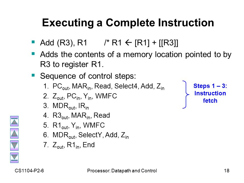 CS1104-P2-6Processor: Datapath and Control18 Executing a Complete Instruction  Add (R3), R1/* R1  [R1] + [[R3]]  Adds the contents of a memory location pointed to by R3 to register R1.