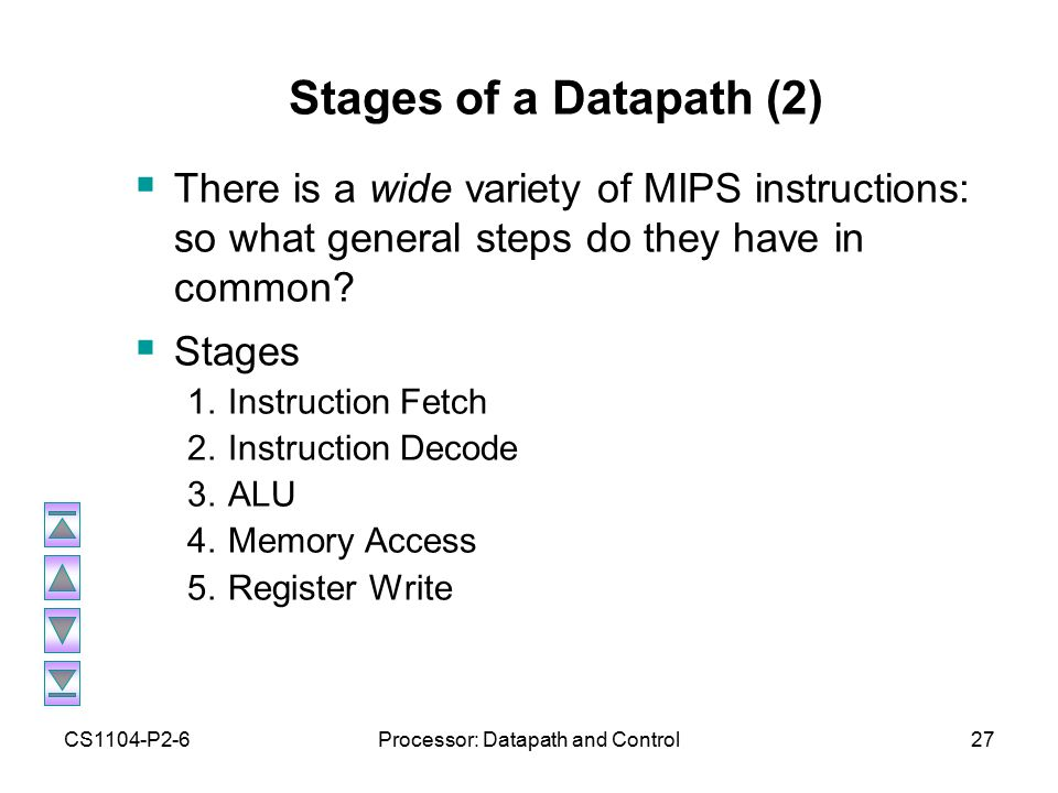CS1104-P2-6Processor: Datapath and Control27 Stages of a Datapath (2)  There is a wide variety of MIPS instructions: so what general steps do they have in common.