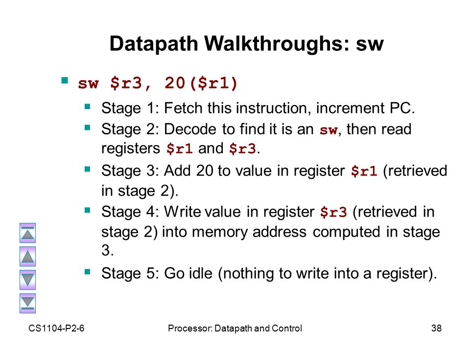 CS1104-P2-6Processor: Datapath and Control38 Datapath Walkthroughs: sw  sw $r3, 20($r1)  Stage 1: Fetch this instruction, increment PC.