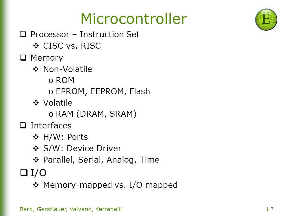 1-7 Bard, Gerstlauer, Valvano, Yerraballi Microcontroller  Processor – Instruction Set  CISC vs.