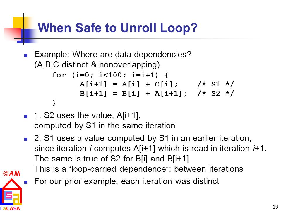  AM LaCASALaCASA 19 When Safe to Unroll Loop. Example: Where are data dependencies.