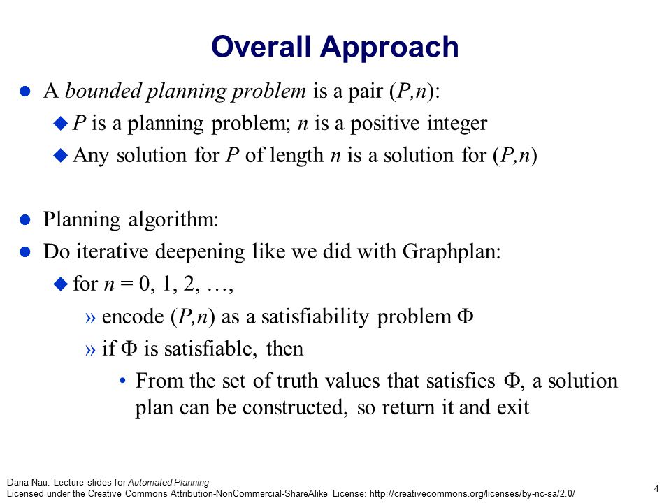 Dana Nau: Lecture slides for Automated Planning Licensed under the Creative Commons Attribution-NonCommercial-ShareAlike License: http://creativecommons.org/licenses/by-nc-sa/2.0/ 15 Planning How to find an assignment of truth values that satisfies  .