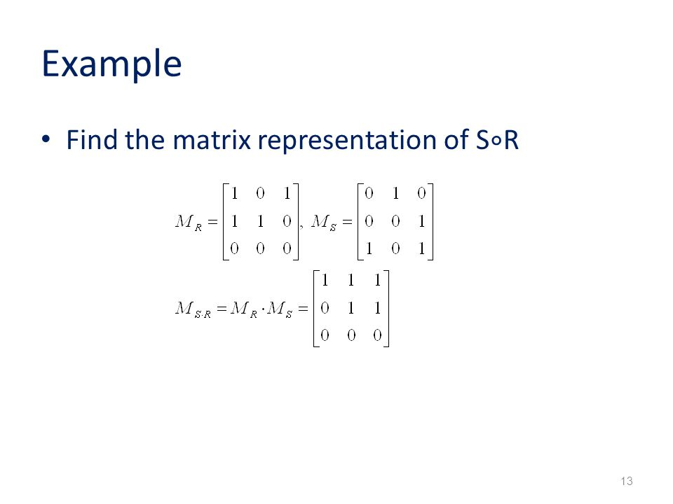 Example Find the matrix representation of S ∘ R 13